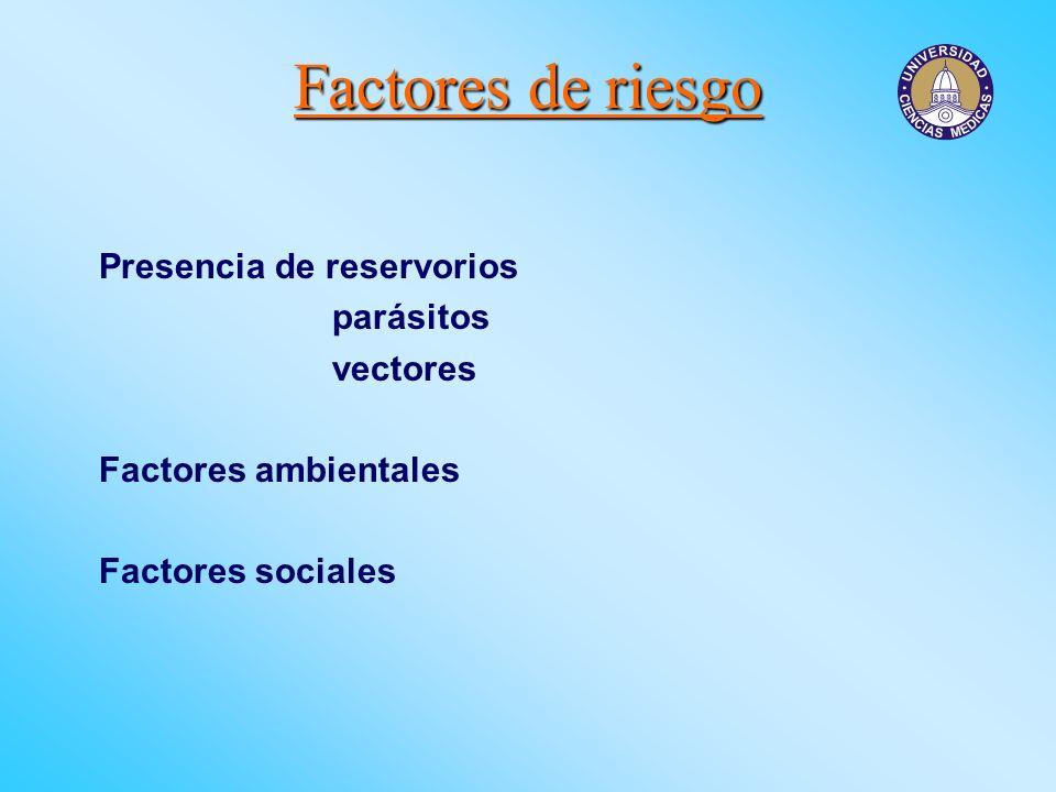 Factores de riesgo Presencia de reservorios parásitos vectores