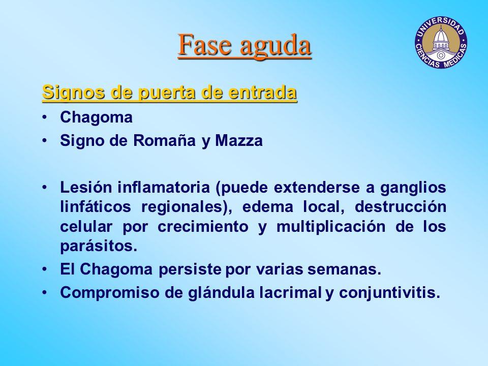 Fase aguda Signos de puerta de entrada Chagoma Signo de Romaña y Mazza