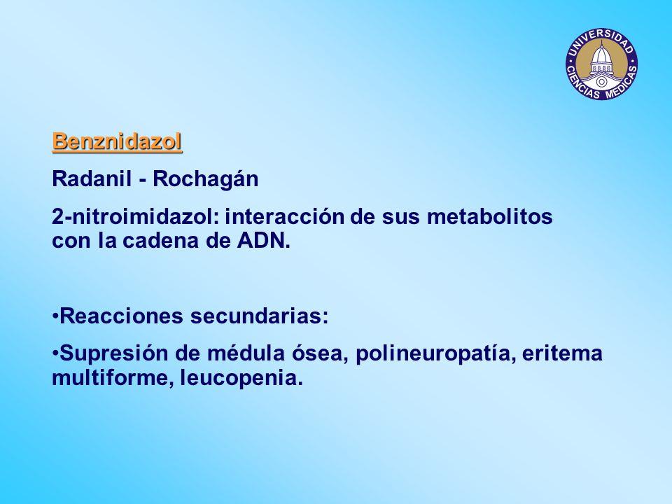Benznidazol Radanil - Rochagán. 2-nitroimidazol: interacción de sus metabolitos con la cadena de ADN.