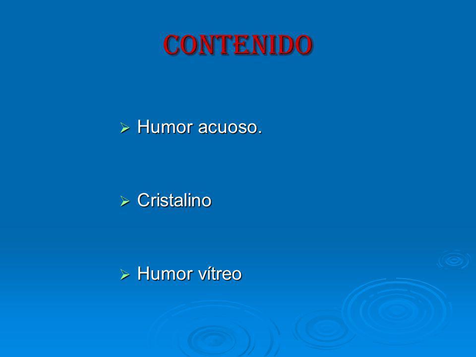 CONTENIDO Humor acuoso. Cristalino Humor vítreo