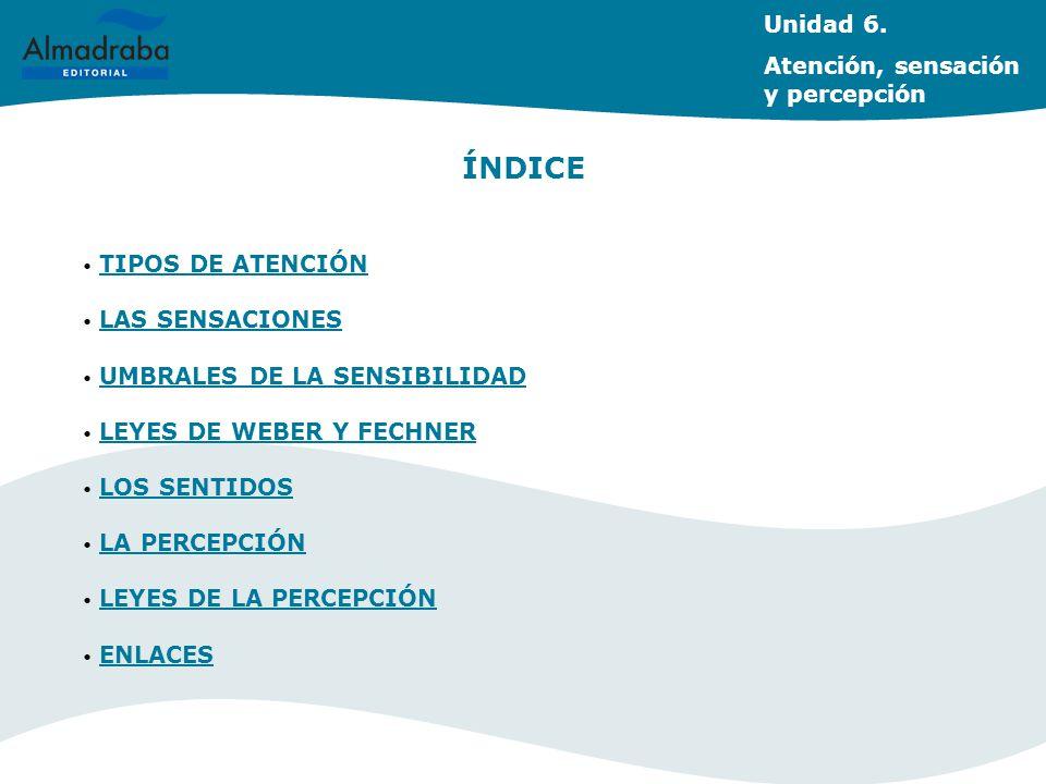 ÍNDICE Unidad 6. Atención, sensación y percepción TIPOS DE ATENCIÓN