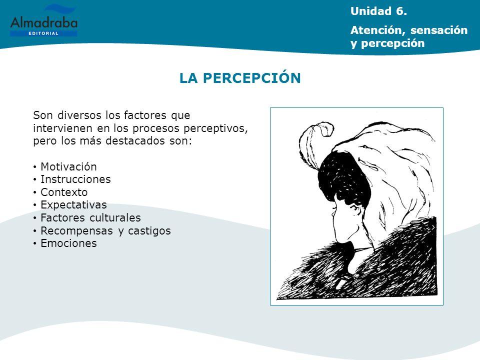 LA PERCEPCIÓN Unidad 6. Atención, sensación y percepción