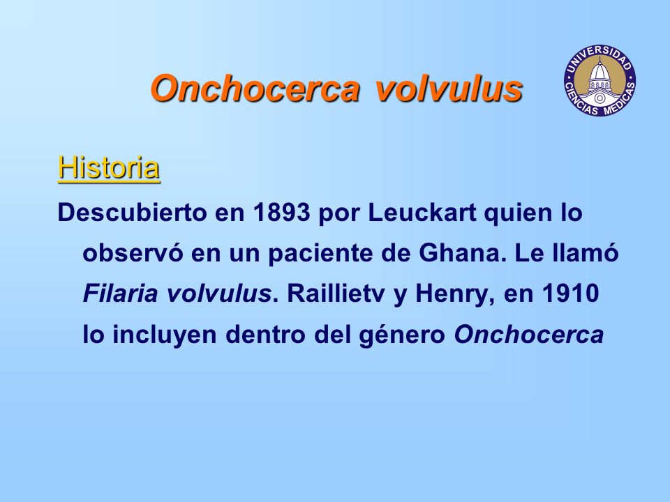 Onchocerca volvulus Historia