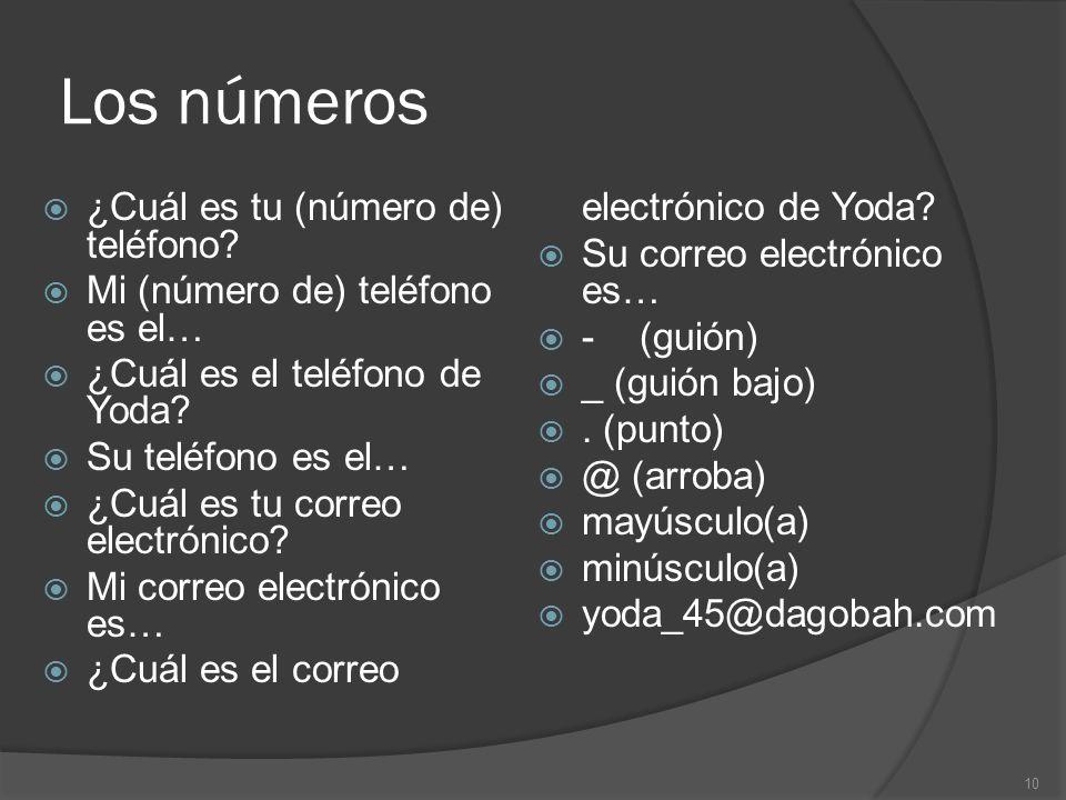 Los números ¿Cuál es tu (número de) teléfono