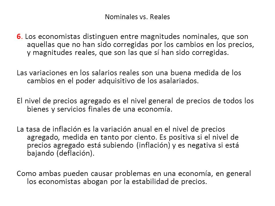 Nominales vs. Reales