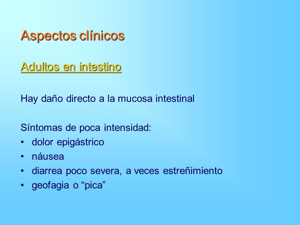 Aspectos clínicos Adultos en intestino