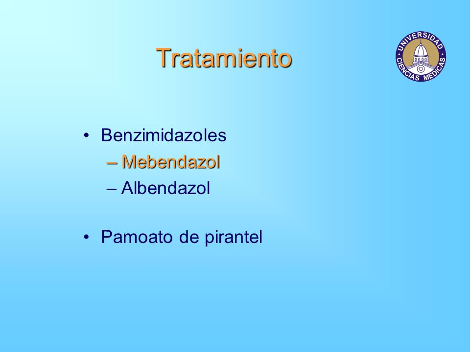 Tratamiento Benzimidazoles Mebendazol Albendazol Pamoato de pirantel
