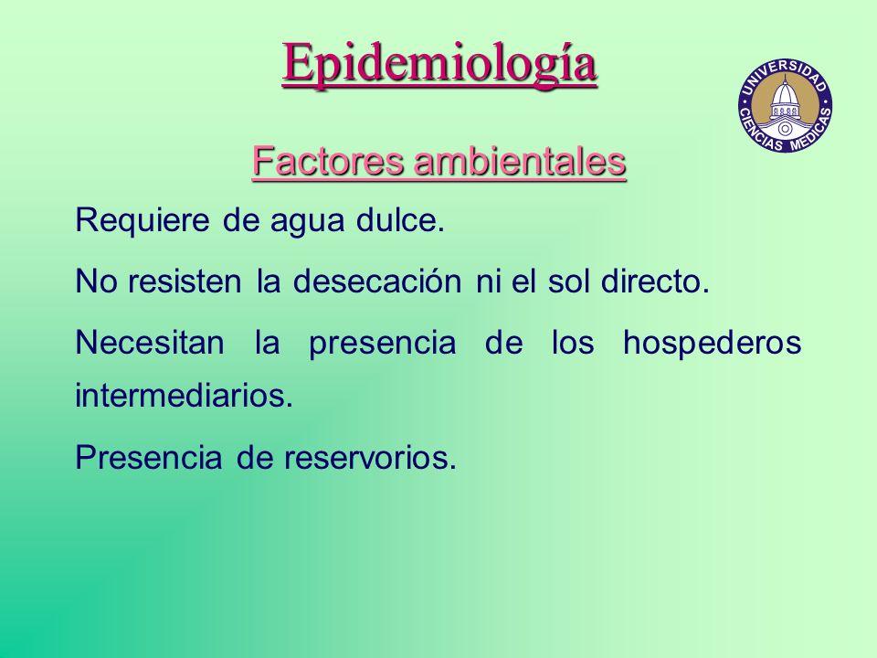 Epidemiología Factores ambientales Requiere de agua dulce.