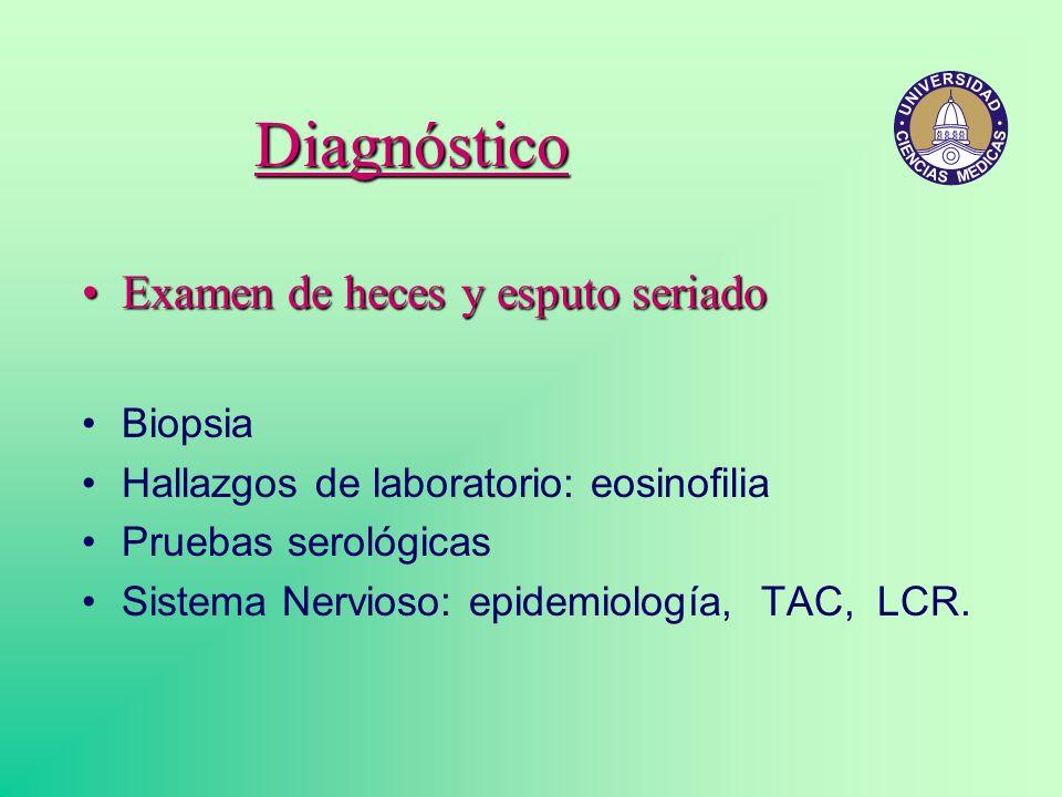 Diagnóstico Examen de heces y esputo seriado Biopsia