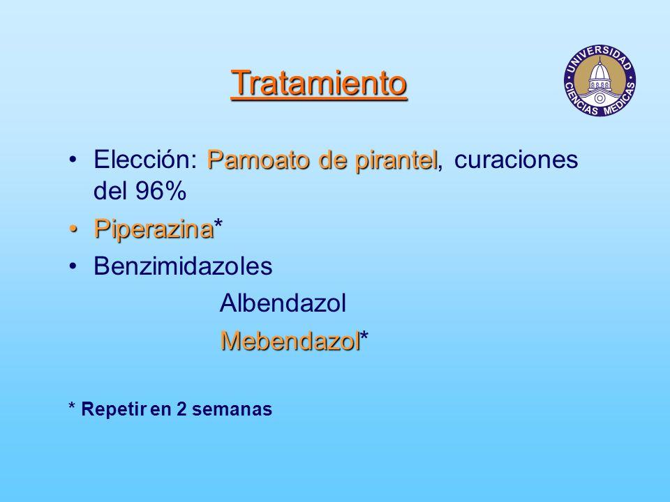Tratamiento Elección: Pamoato de pirantel, curaciones del 96%