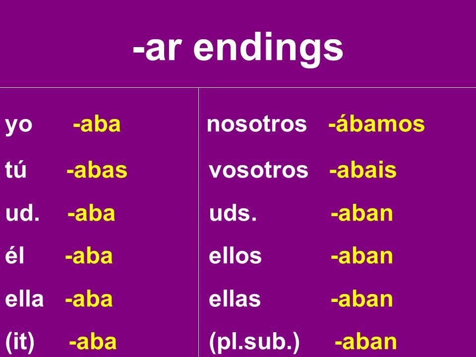 -ar endings yo -aba nosotros -ábamos tú -abas vosotros -abais
