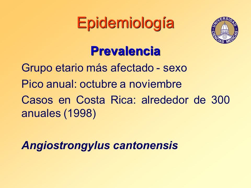 Epidemiología Prevalencia Grupo etario más afectado - sexo