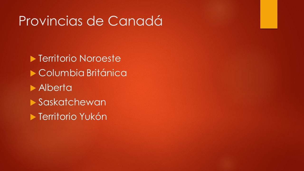 Provincias de Canadá Territorio Noroeste Columbia Británica Alberta