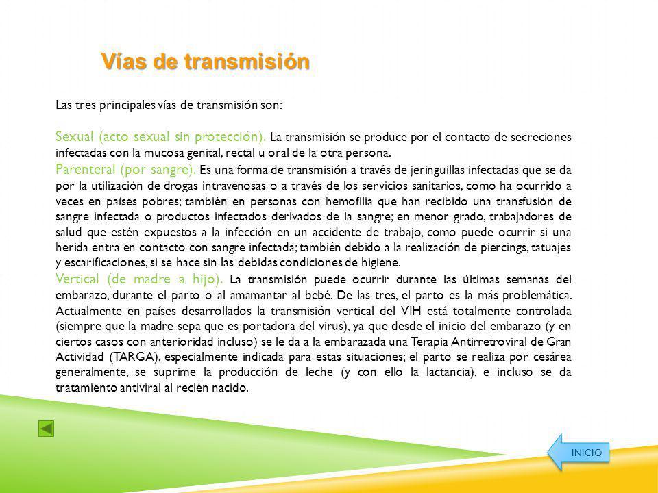 Vías de transmisión Las tres principales vías de transmisión son: