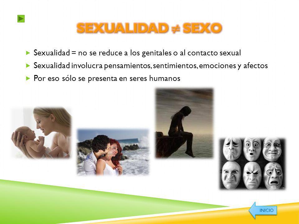 Sexualidad ≠ Sexo Sexualidad = no se reduce a los genitales o al contacto sexual.