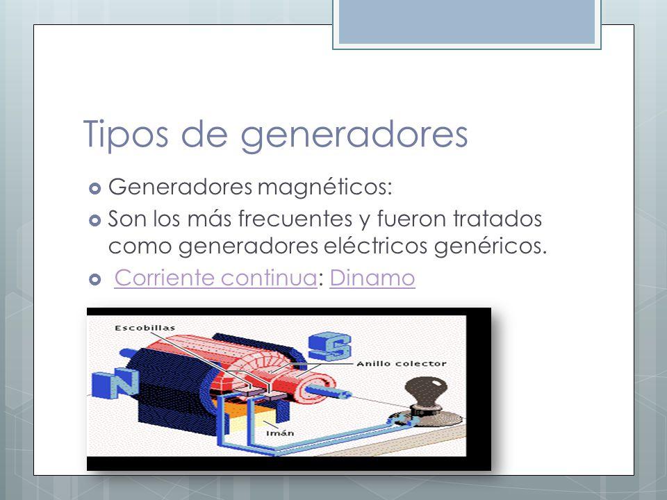 Tipos de generadores Generadores magnéticos: