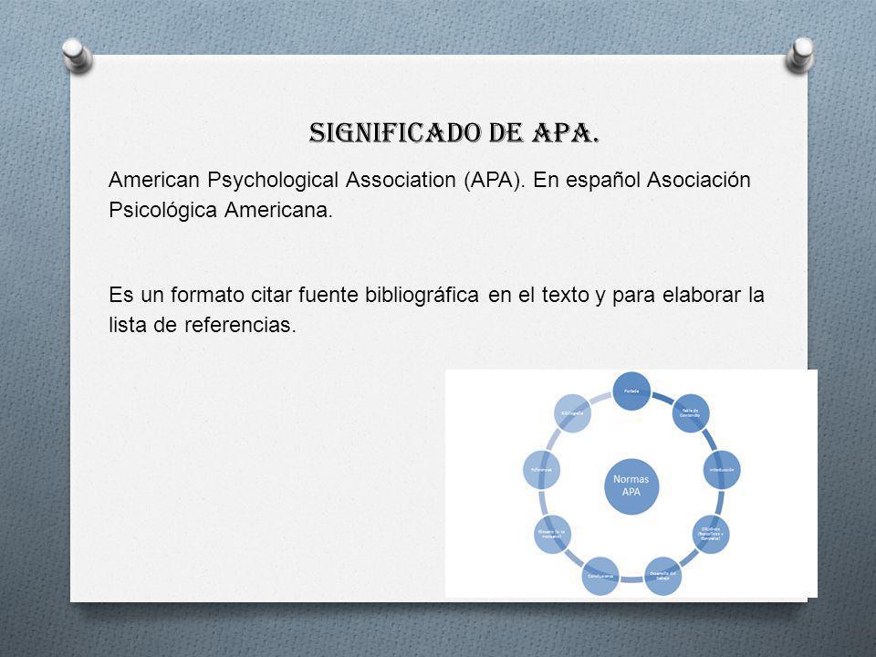 Significado de APA. American Psychological Association (APA). En español Asociación Psicológica Americana.