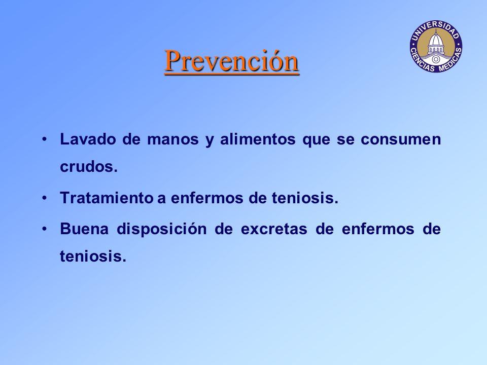 Prevención Lavado de manos y alimentos que se consumen crudos.
