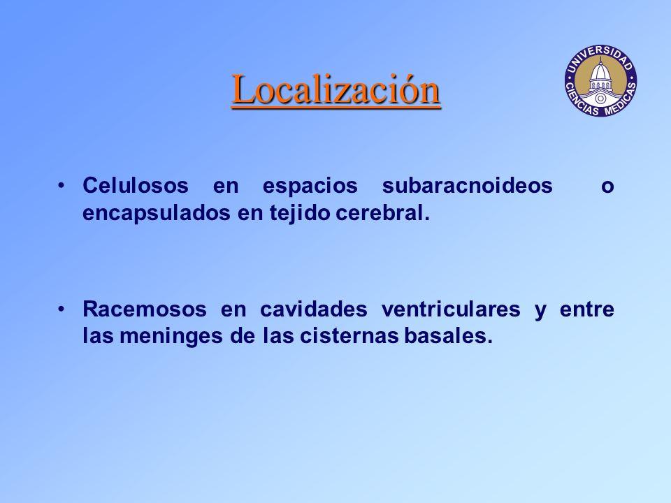 Localización Celulosos en espacios subaracnoideos o encapsulados en tejido cerebral.