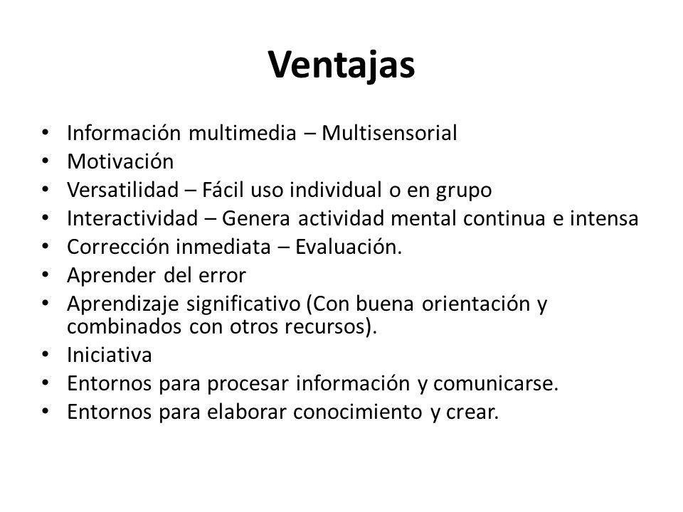 Ventajas Información multimedia – Multisensorial Motivación
