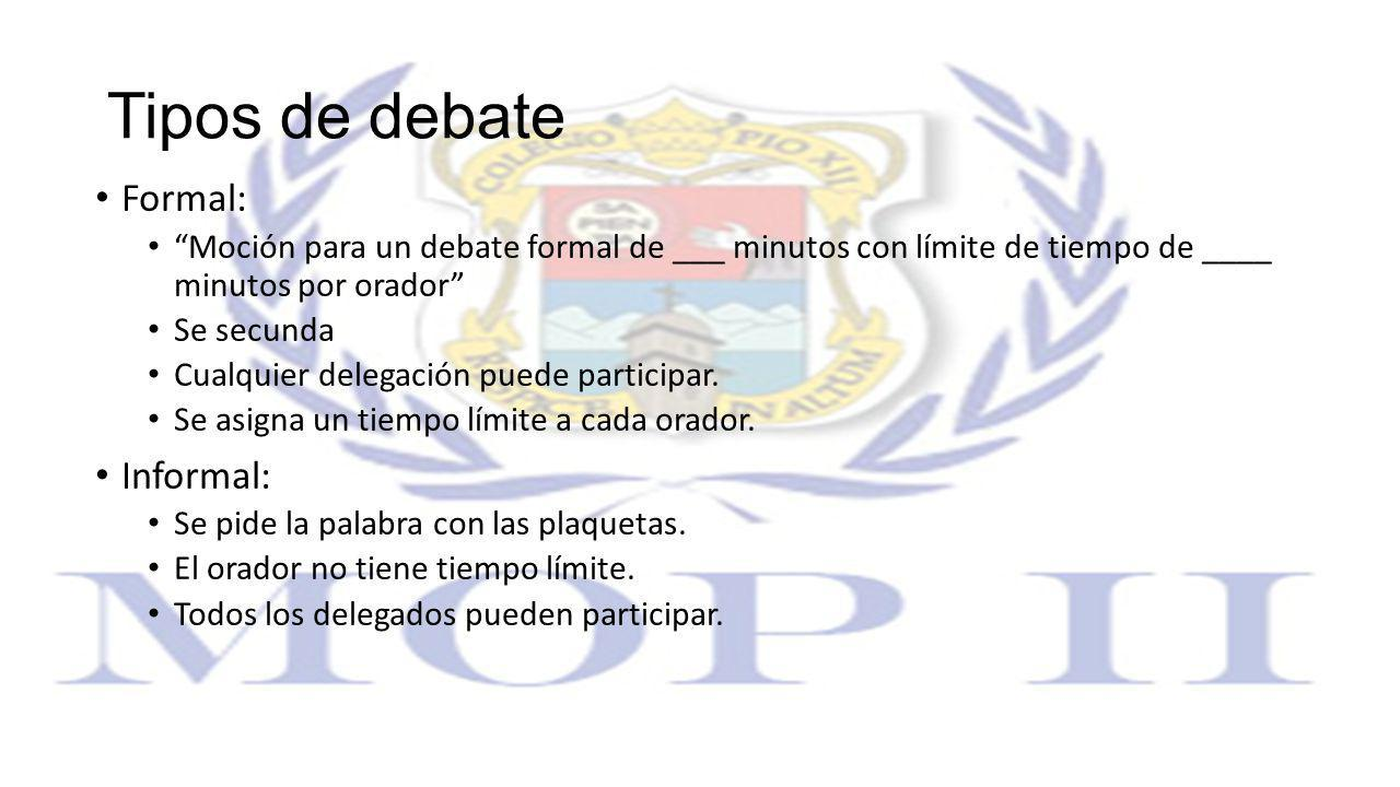 Tipos de debate Formal: Informal: