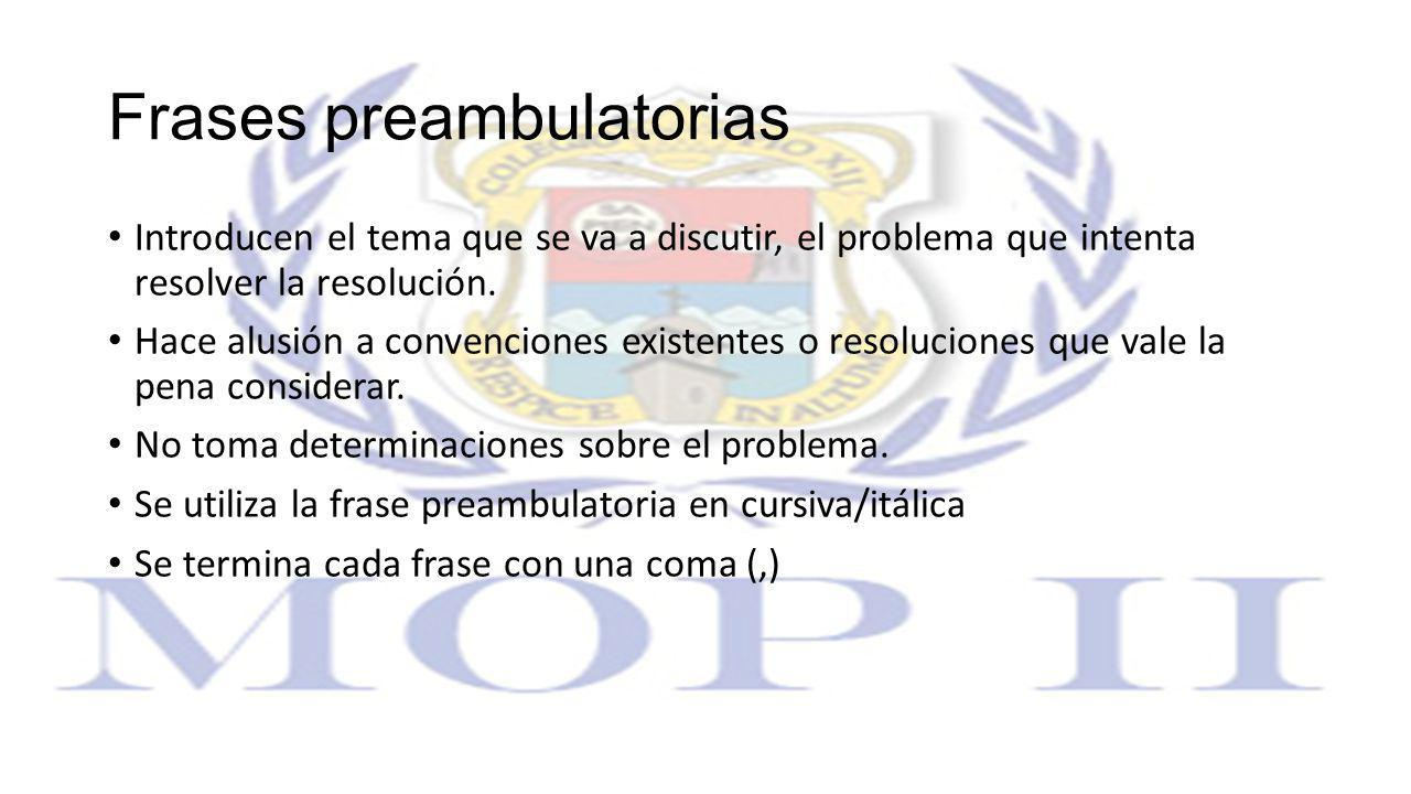 Frases preambulatorias