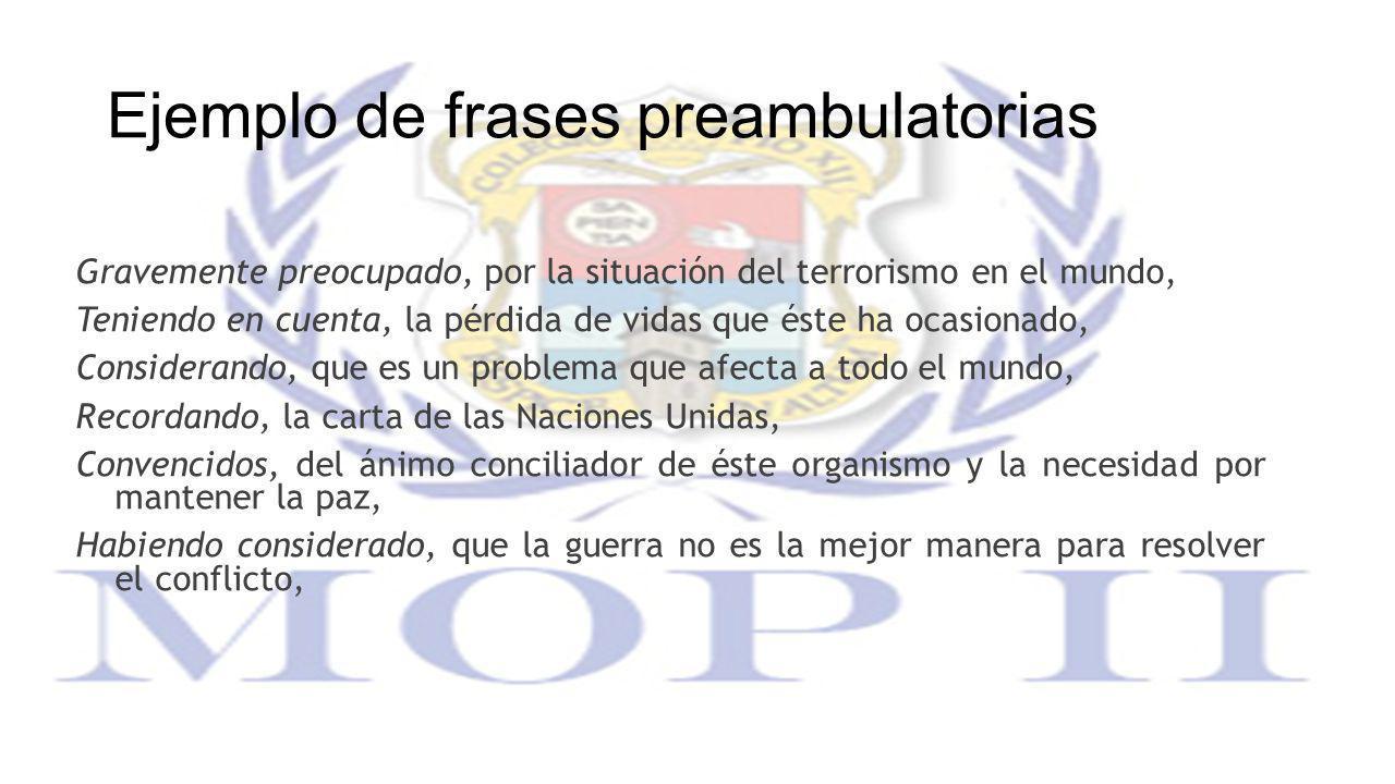 Ejemplo de frases preambulatorias