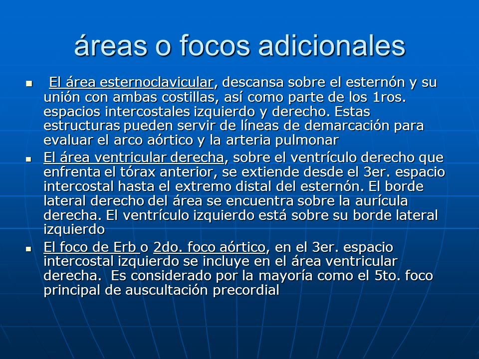 áreas o focos adicionales