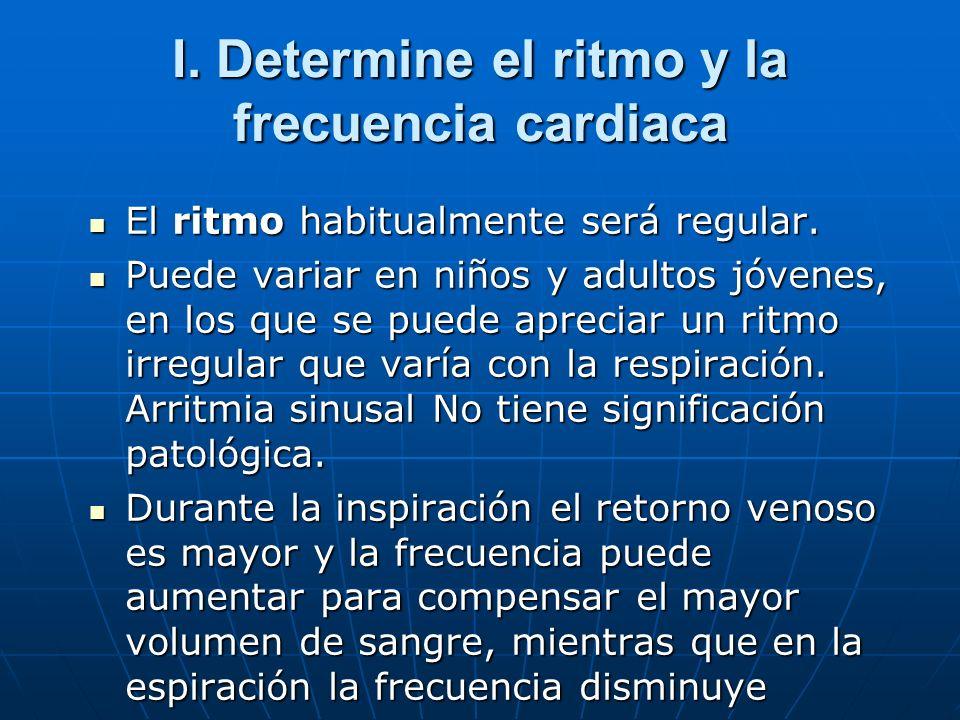 I. Determine el ritmo y la frecuencia cardiaca