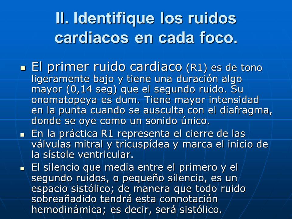 II. Identifique los ruidos cardiacos en cada foco.