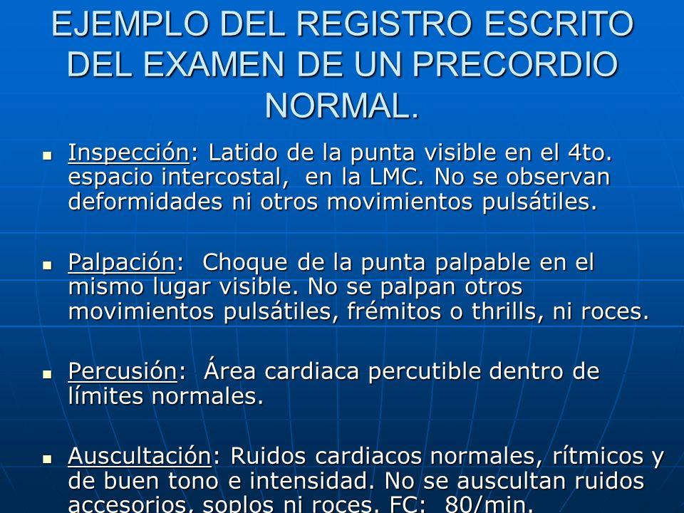 EJEMPLO DEL REGISTRO ESCRITO DEL EXAMEN DE UN PRECORDIO NORMAL.