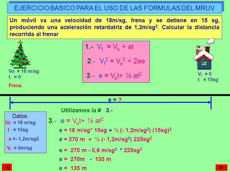 EJERCICIO BASICO PARA EL USO DE LAS FORMULAS DEL MRUV