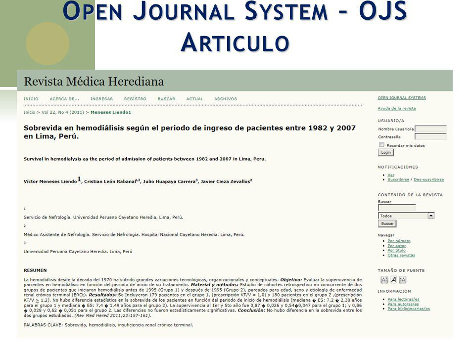 Open Journal System – OJS Articulo