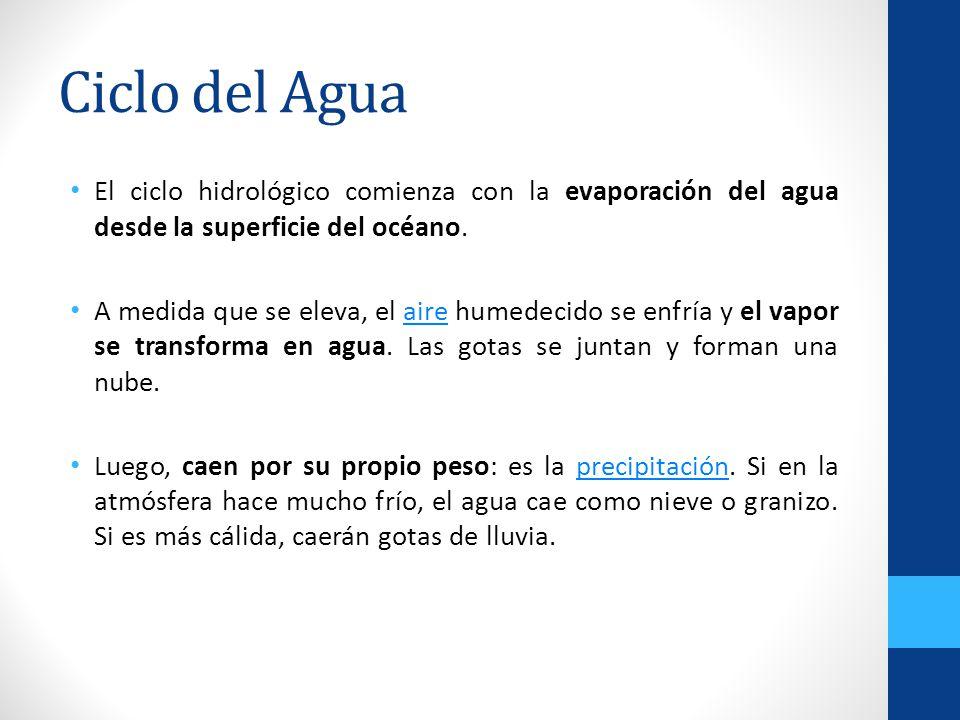 Ciclo del Agua El ciclo hidrológico comienza con la evaporación del agua desde la superficie del océano.