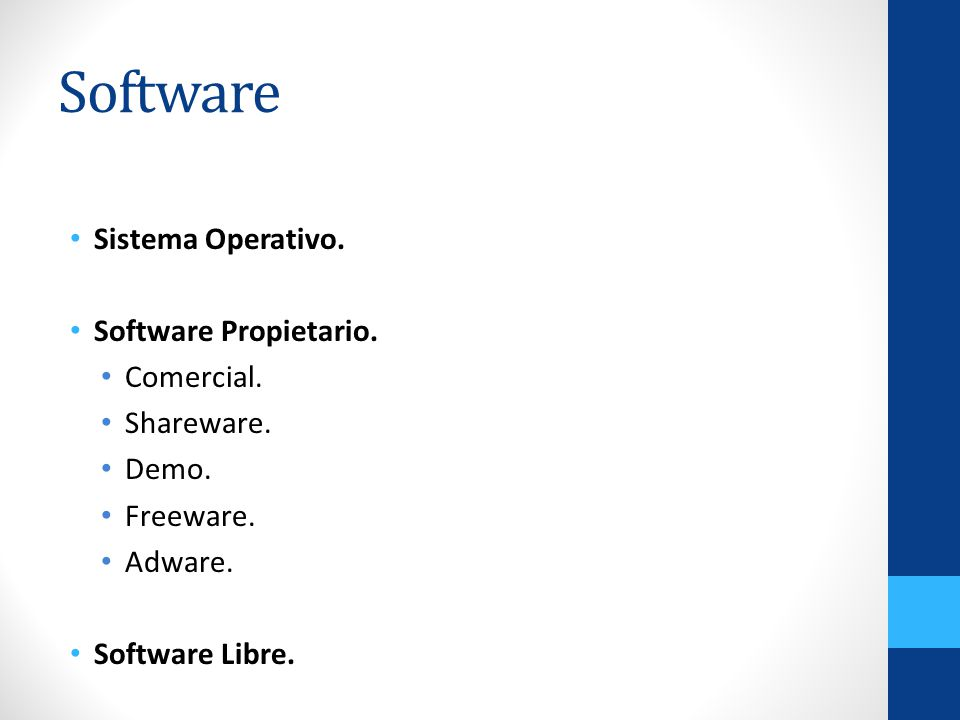 Software Sistema Operativo. Software Propietario. Comercial.