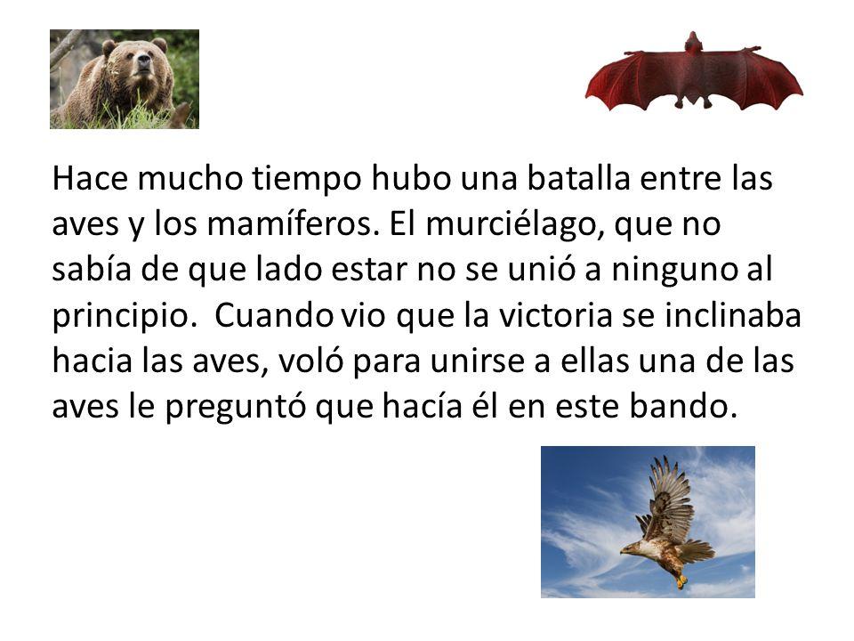 Hace mucho tiempo hubo una batalla entre las aves y los mamíferos
