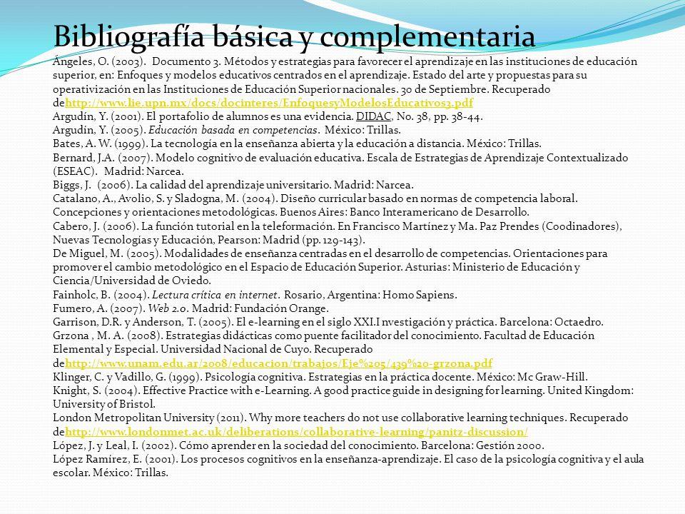 Bibliografía básica y complementaria Ángeles, O. (2003). Documento 3