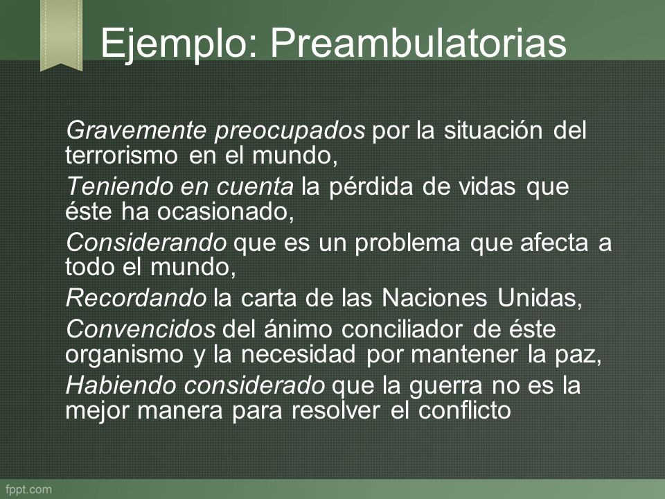 Ejemplo: Preambulatorias