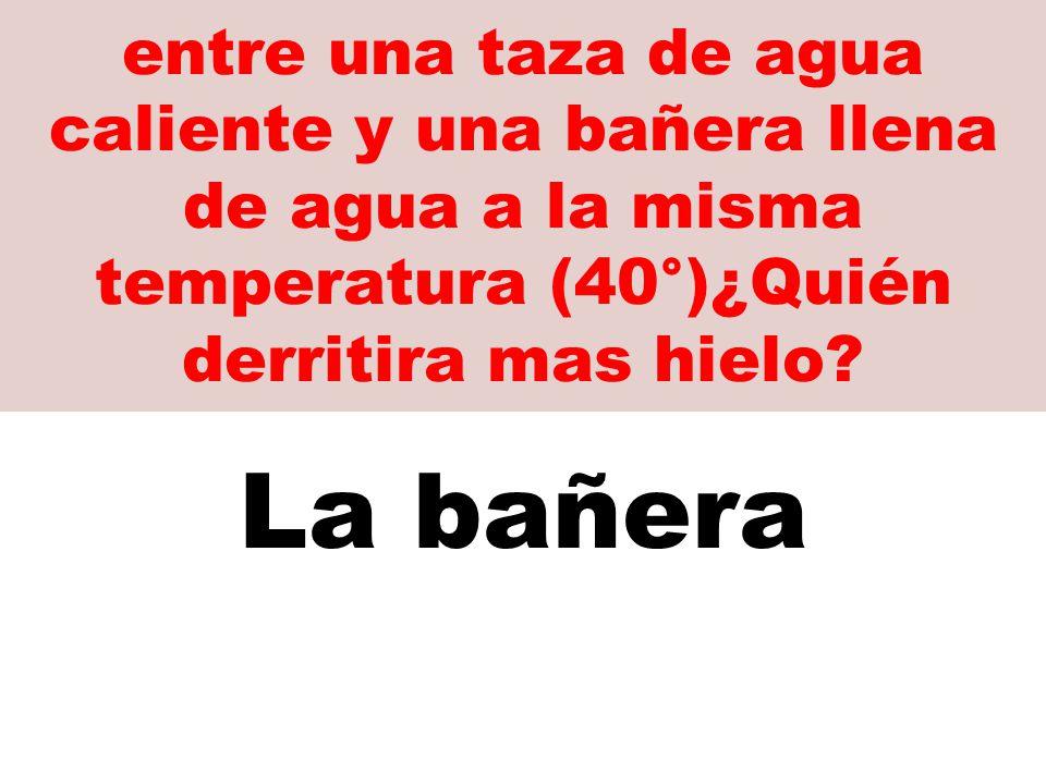 entre una taza de agua caliente y una bañera llena de agua a la misma temperatura (40°)¿Quién derritira mas hielo