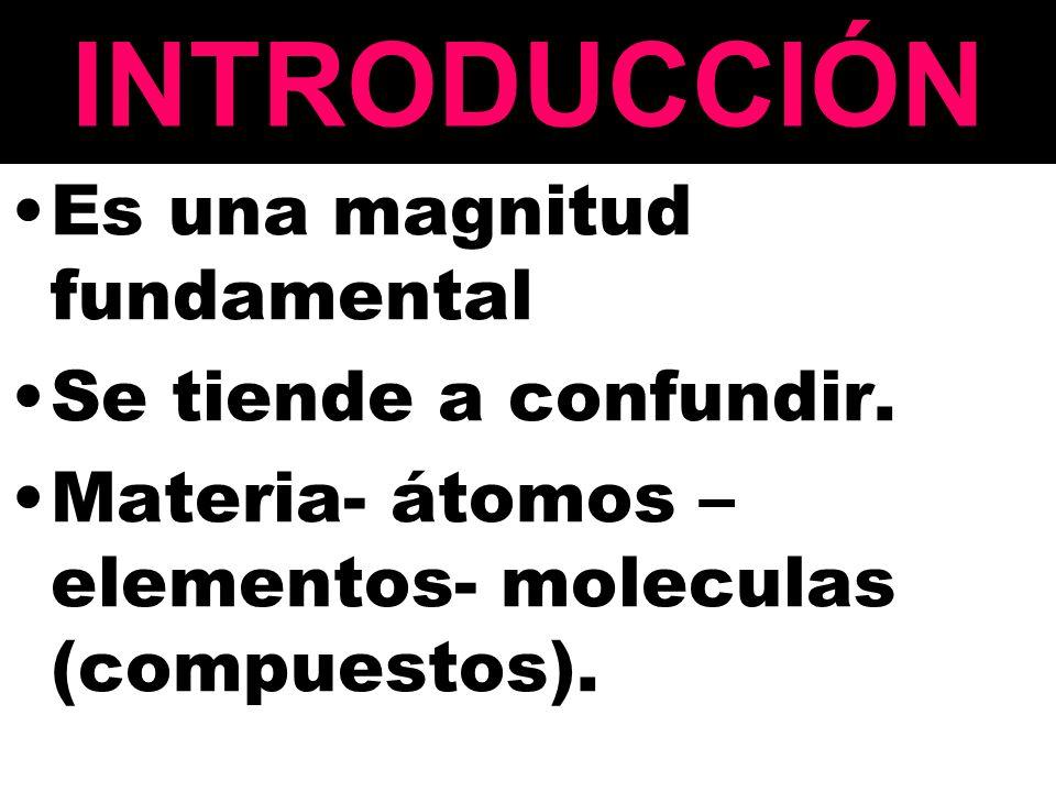 INTRODUCCIÓN Es una magnitud fundamental Se tiende a confundir.