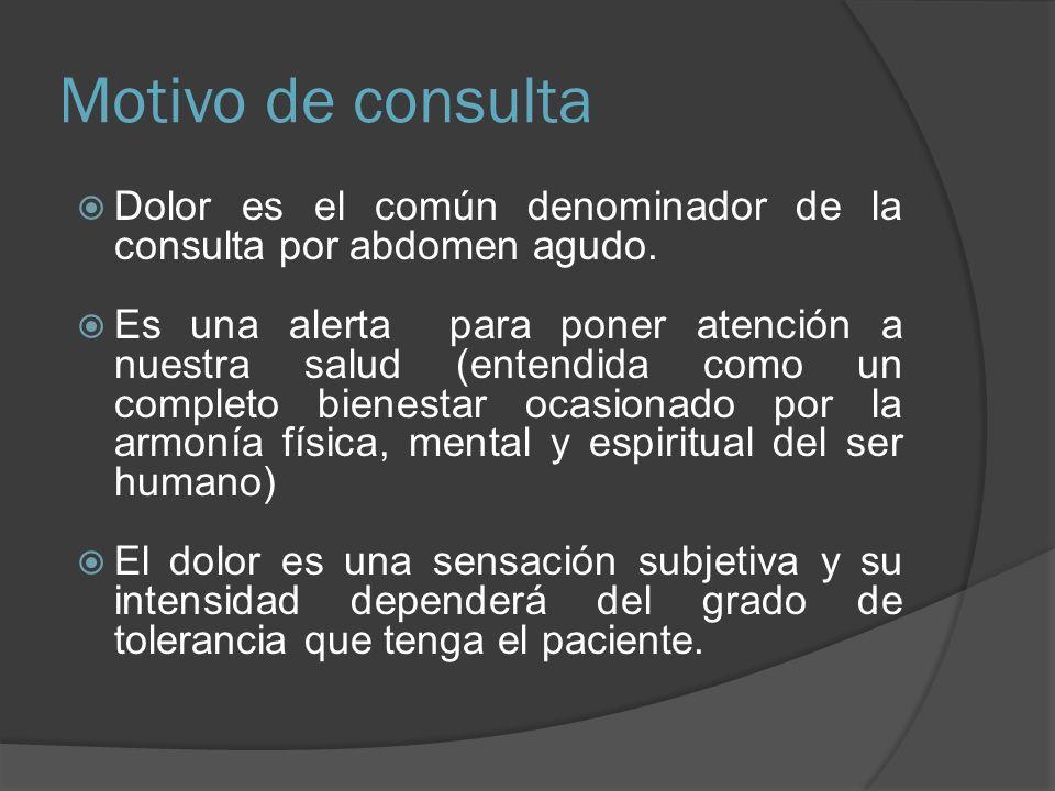 Motivo de consulta Dolor es el común denominador de la consulta por abdomen agudo.