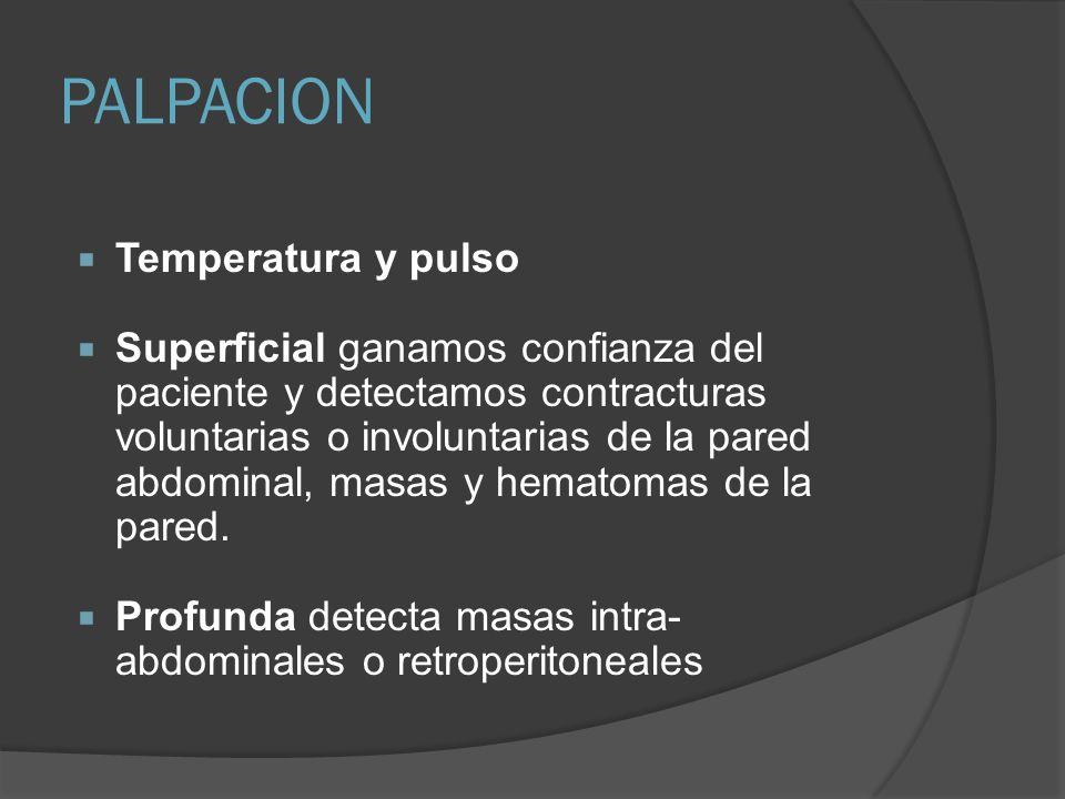 PALPACION Temperatura y pulso