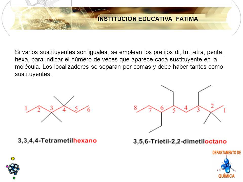 Si varios sustituyentes son iguales, se emplean los prefijos di, tri, tetra, penta, hexa, para indicar el número de veces que aparece cada sustituyente en la molécula.