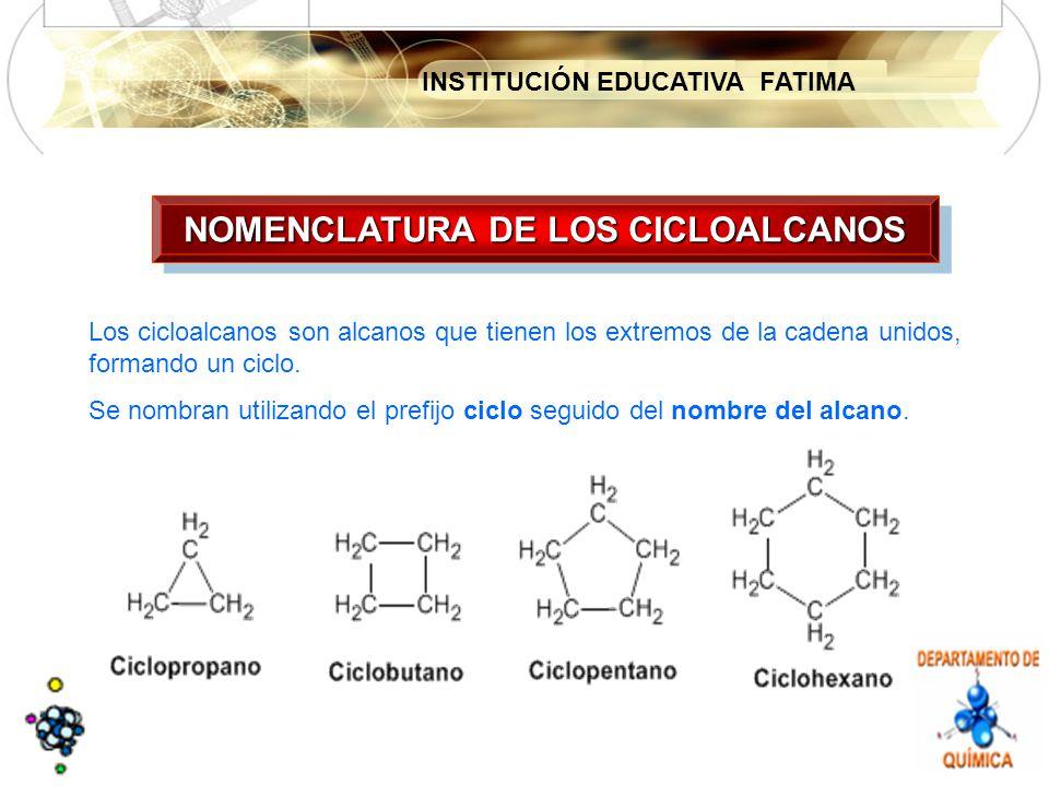 NOMENCLATURA DE LOS CICLOALCANOS