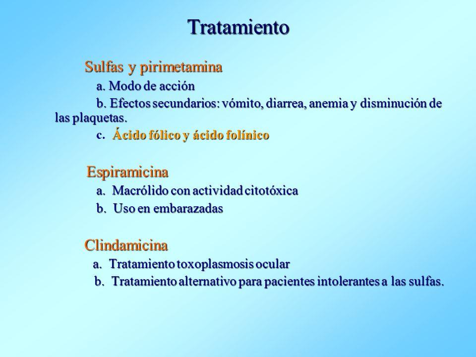 Tratamiento Sulfas y pirimetamina Clindamicina a. Modo de acción