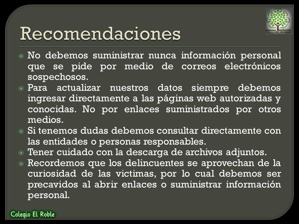 Recomendaciones No debemos suministrar nunca información personal que se pide por medio de correos electrónicos sospechosos.