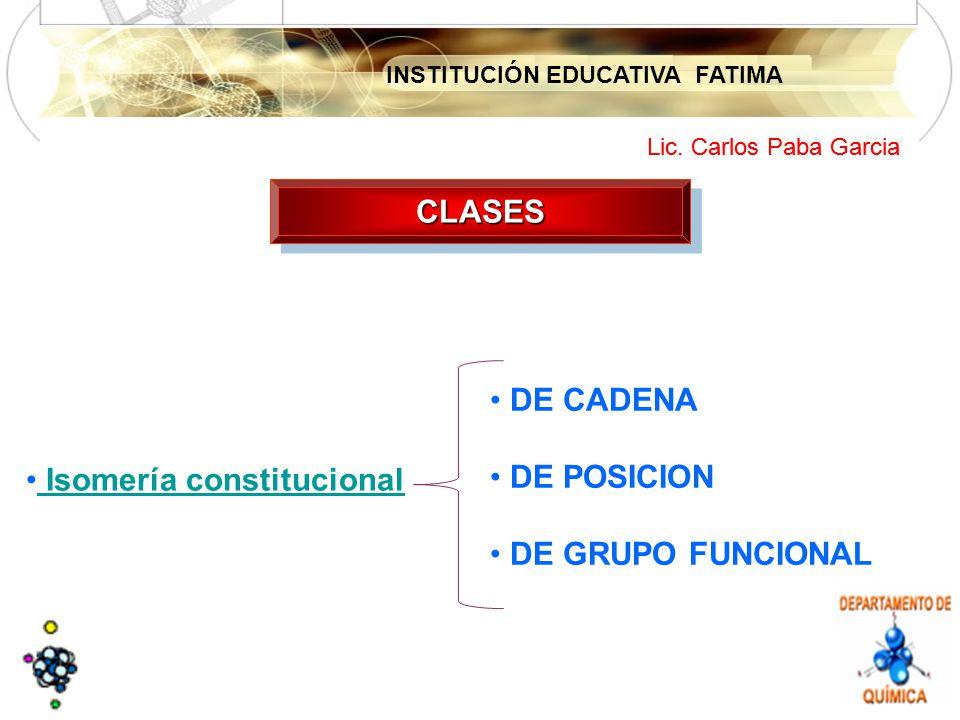 CLASES DE CADENA DE POSICION DE GRUPO FUNCIONAL Isomería constitucional