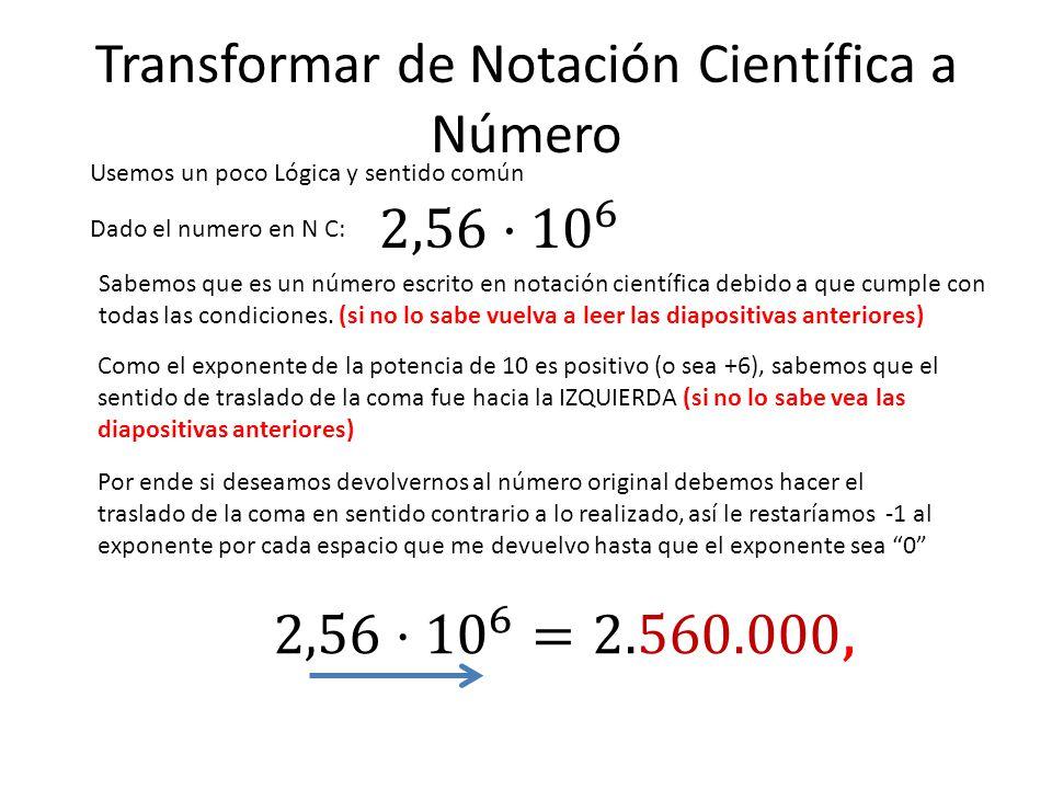 Transformar de Notación Científica a Número