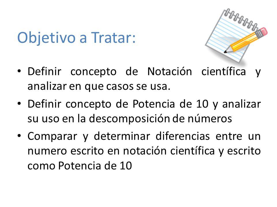 Objetivo a Tratar: Definir concepto de Notación científica y analizar en que casos se usa.