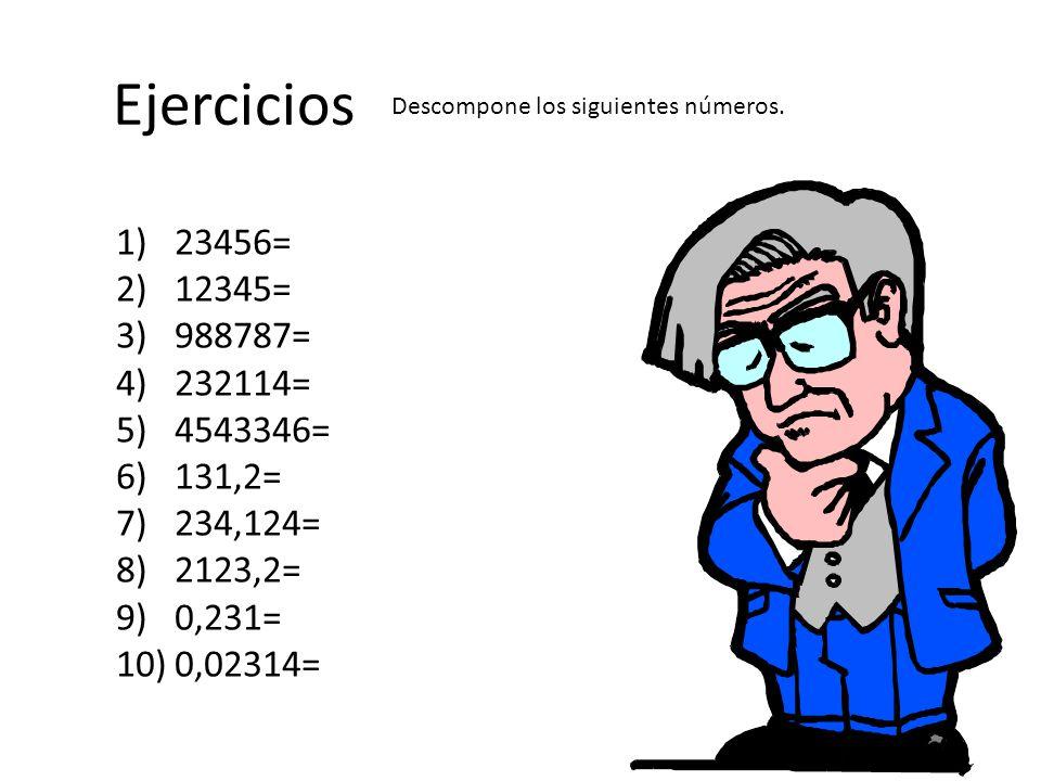 Ejercicios Descompone los siguientes números. 23456= 12345= 988787= 232114= 4543346= 131,2= 234,124=